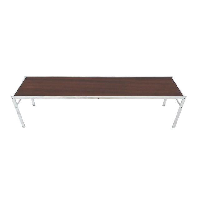 Modern Walnut & Chrome Low Coffee Table - Image 1 of 7