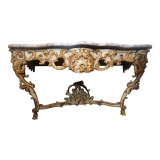 18th Century Rococo Console With Marble Top For Sale