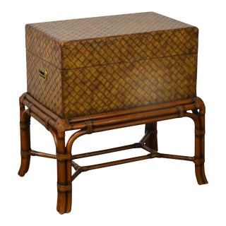 Maitland Smith Woven Leather Lidded Chest on Rattan Base
