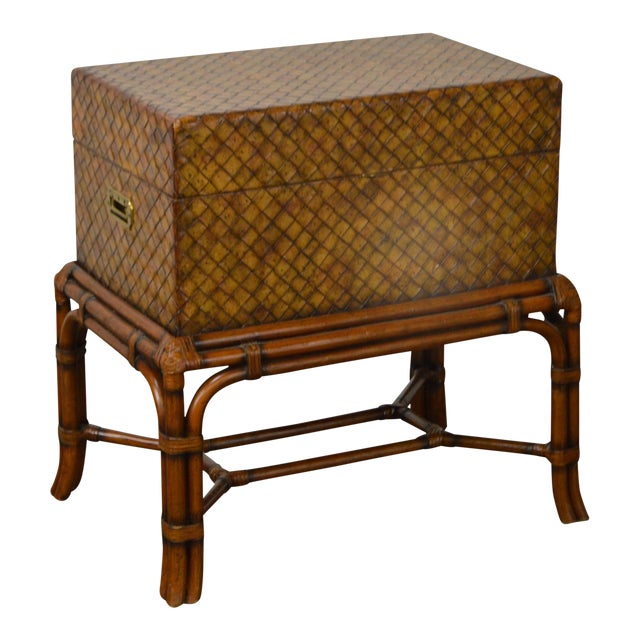 Maitland Smith Woven Leather Lidded Chest on Rattan Base For Sale