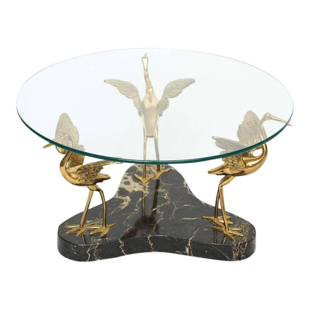 Round Marble and Brass Birds Coffee Table For Sale