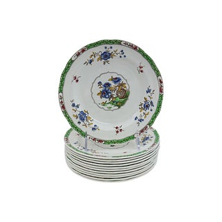 Antique Copeland Spode Floral Salad Plates - Set of 12 For Sale