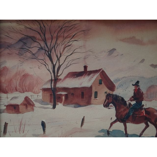 Brown Charles Payzant Double-Sided Western Watercolor For Sale - Image 8 of 8