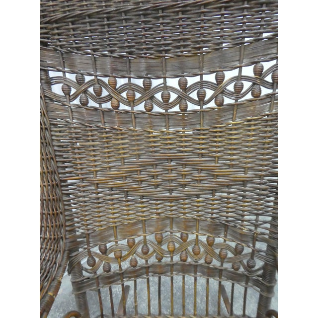 Late 19th Century Victorian Heywood Wakefield Wicker Rocking Chair For Sale - Image 5 of 13