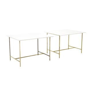 Pair of Paul McCobb Side or End Tables Brass with White Glass / Vitrolite Tops For Sale