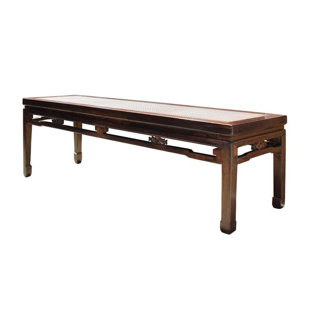 Asian Chinese Zen Brown Rattan Top Wood Bench For Sale - Image 3 of 4