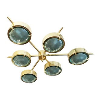 "Customizable ""Stella"" Faceted Glass Flush Mount Chandelier For Sale"