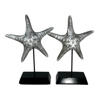 Realistic Marine Silver Starfish Sculptures - a Pair For Sale