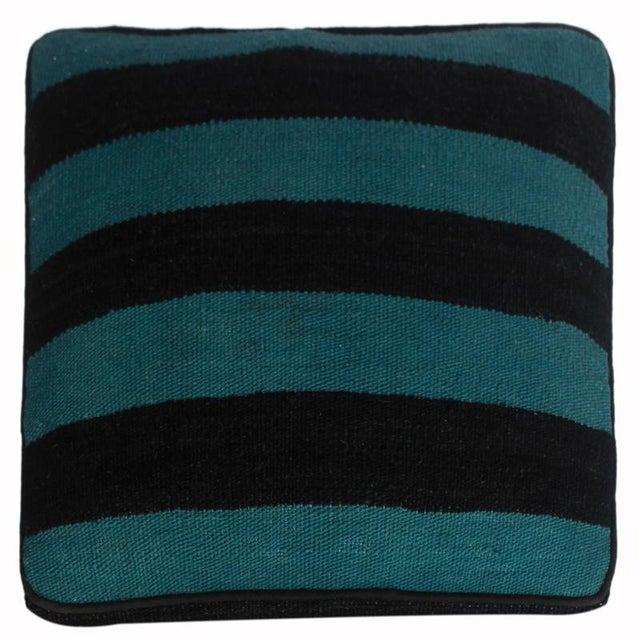Arshs Deedra Blue/Black Kilim Upholstered Handmade Ottoman For Sale In New York - Image 6 of 8