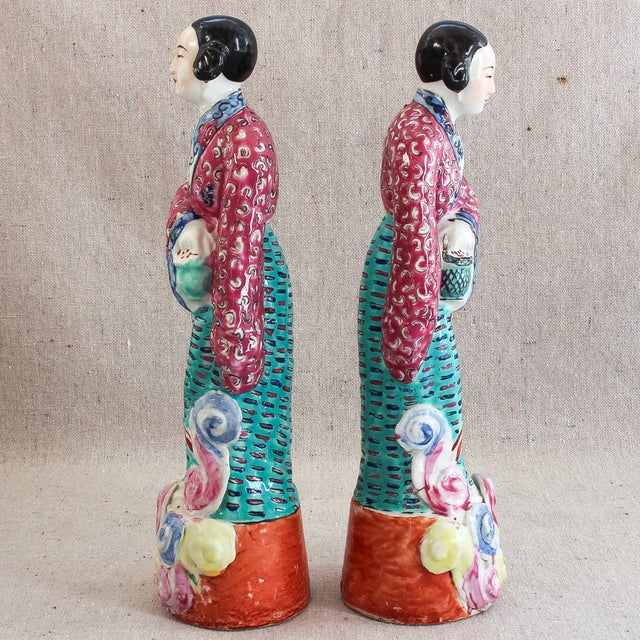 Antique Chinese Famille Rose Statues - Pair For Sale In San Francisco - Image 6 of 8