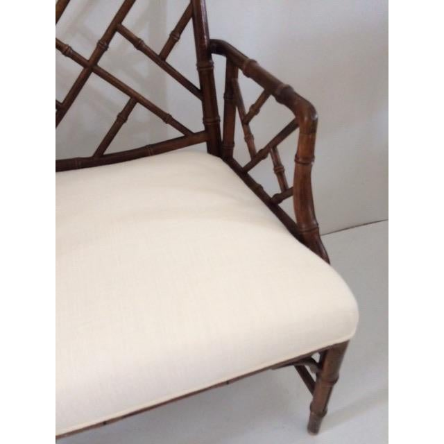 Faux Bamboo 1980s Vintage Faux Bamboo Arm Chairs- A Pair For Sale - Image 7 of 13