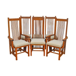 Cherrico Mission Style Oak Spindle Dining Chairs - Set of 6