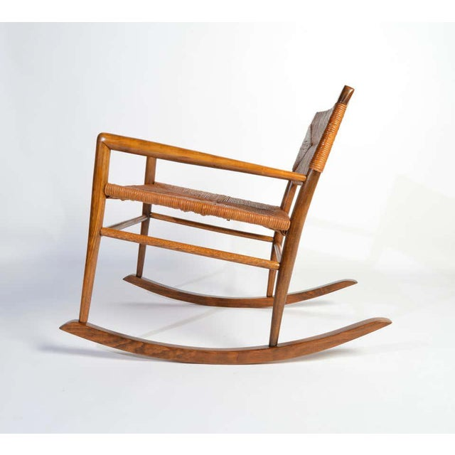 Custom Mel Smilow Rocker-One of a handful produced by Smilow Designs in 1956. Mahogany frame having rush seat and...