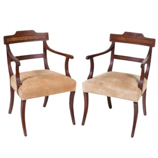 1950s Vintage English Regency Arm Chairs - a Pair For Sale
