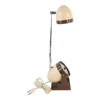Vintage 1970s Mid Century Modern Light Brown Compact Adjustable Table Desk Lamp For Sale