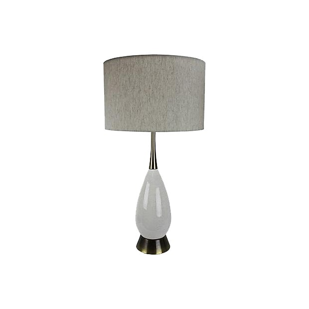 Mid-Century Modern White Crackle Lamp - Image 1 of 5