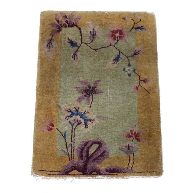 Antique 1924 Nichols Wool Rug Tientsin North China Flowers Motif For Sale