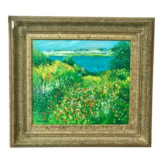 "1960s Vintage ""Field of Wildflowers"" Oil Painting by Roger Barron For Sale"