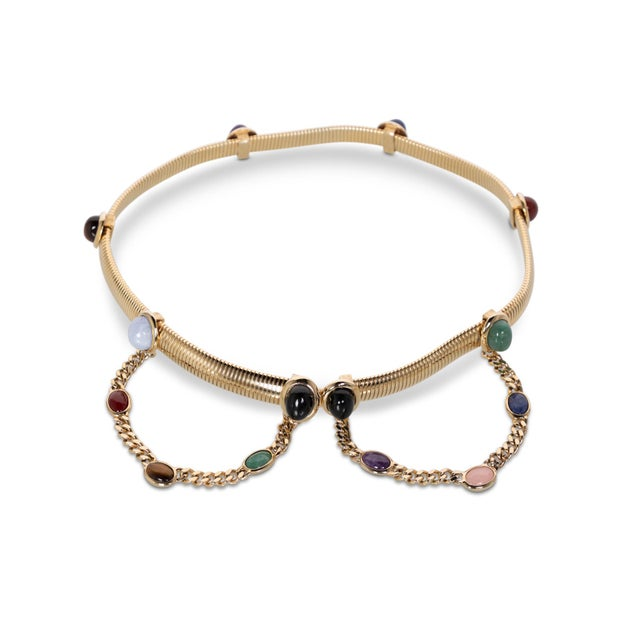 Judith Leiber 1990s Judith Leiber Gold Semi-Precious Stones Chain Belt For Sale - Image 4 of 7