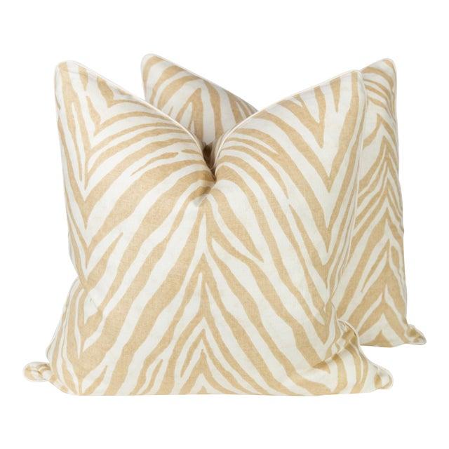 Caramel Linen Zebra Pillows, a Pair For Sale