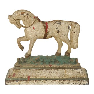 Large Antique - Victorian Cast Iron Prancing Horse Doorstop For Sale