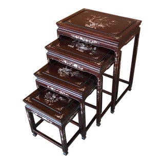 Chinese Rosewood Inlaid Nesting Tables - Set of 4