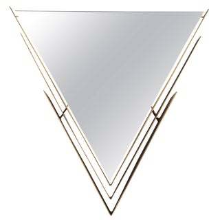 Curtis Jere Brass-Framed V-Shaped Mirror For Sale