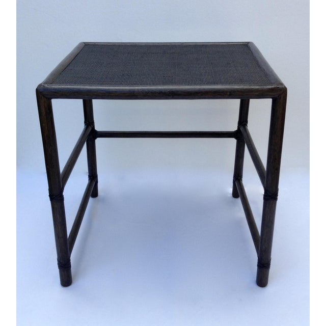 McGuire Leather Strapped Rattan & Cane Side Table For Sale - Image 11 of 11
