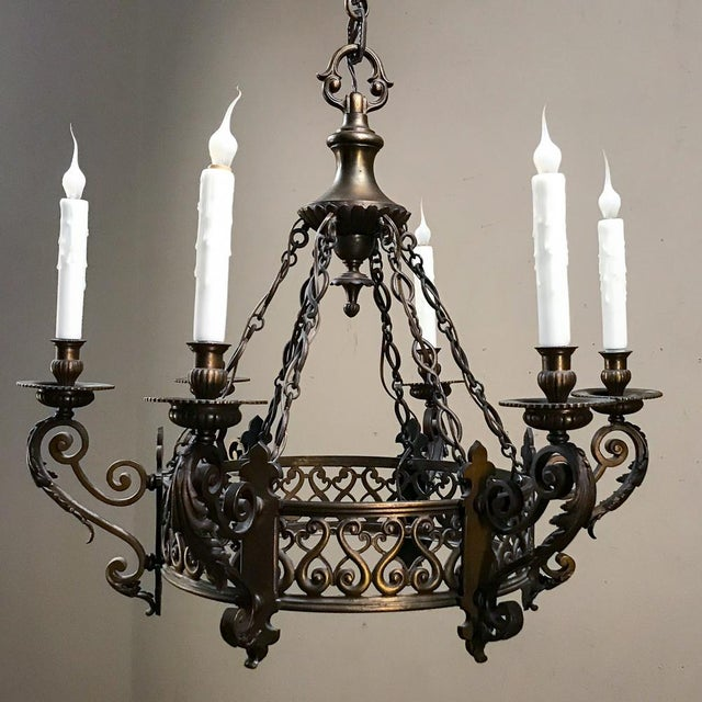 Gold Antique French Louis XIV Bronze Chandelier For Sale - Image 8 of 12