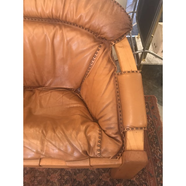 Brown Vintage Mid Century Cognac Brown Leather Sofa For Sale - Image 8 of 13