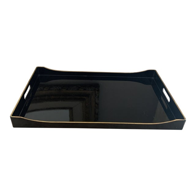 Donghia Black and Gold Accented Lacquered Tray For Sale