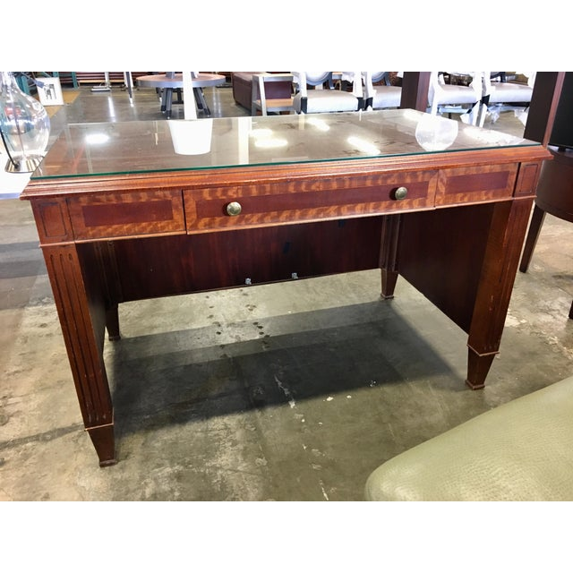 Brass Empire Petite Tiger Wood & Mahogany Executive Desk For Sale - Image 7 of 7