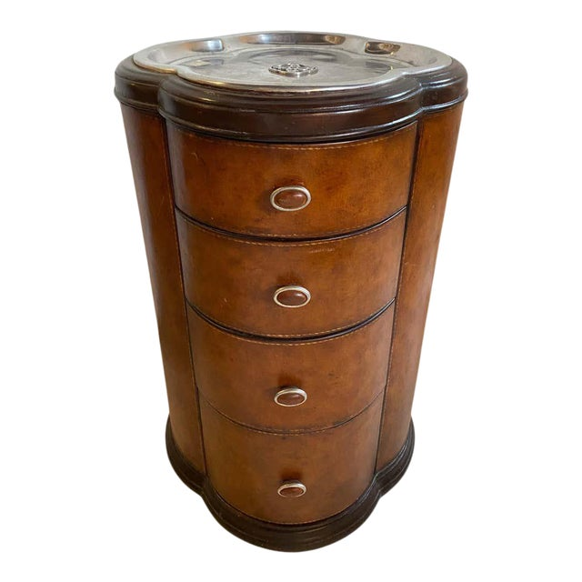 Regency Style Cigar Table, Stitched Leather and Inlaid Tray Top Manner Lauren For Sale