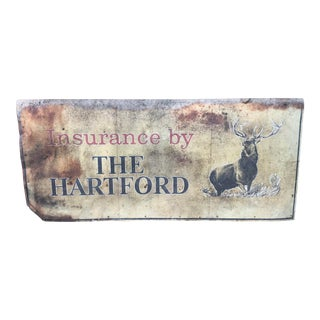 Large Vintage Rustic the Hartford Insurance Advertising Sign For Sale