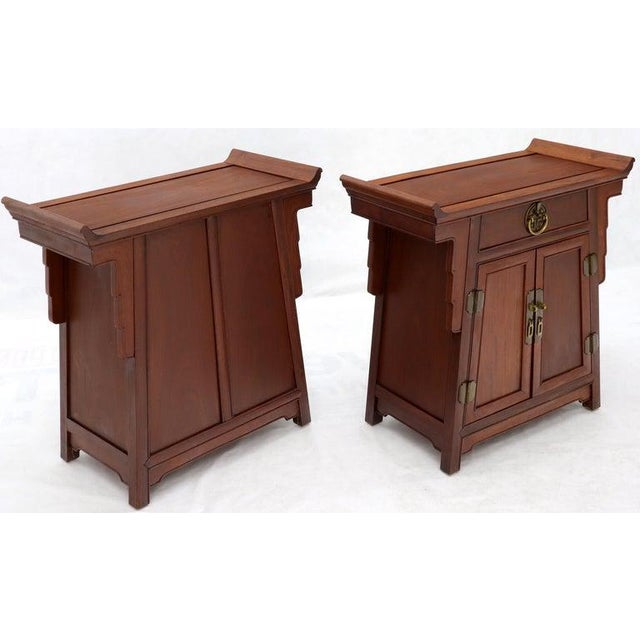 Pair of Asian Solid Teak Pyramid Shade Rolled Edges End Side Tables For Sale - Image 12 of 13