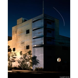Banded Building - Night Photograph by John Vias
