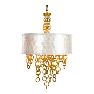 1990s Vintage Gold Ring Three Light Chandelier For Sale