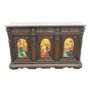 Italian Gothic Hand Carved & Painted Sideboard For Sale