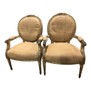 19th Century Round Louis XVI Arm Chairs - a Pair For Sale