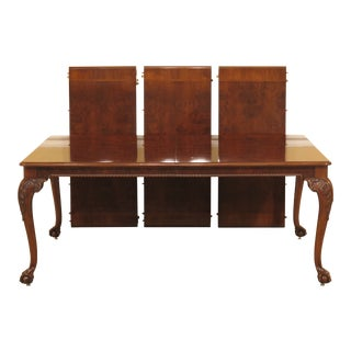 Chippendale Karges Ball & Claw Walnut Dining Room Table For Sale