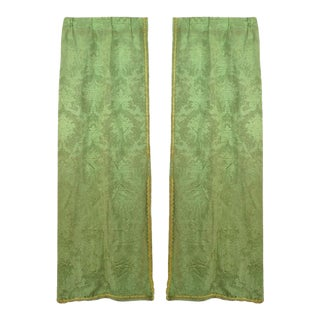Green Silk Damask and Silk Drapes For Sale