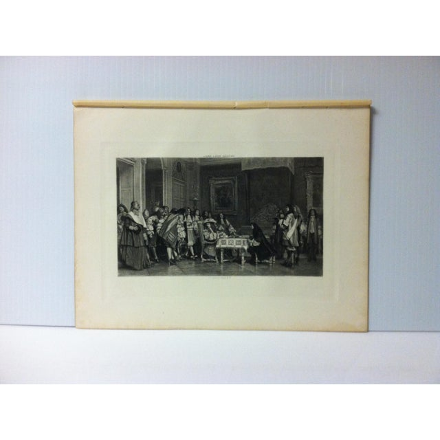 """Antique Photogravure on Paper, """"Moliere at Breakfast - With Louis XVI"""" by Jean Leon Gerome - Circa 1860 For Sale - Image 4 of 4"""