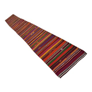 1970s Vintage Handwoven Striped Runner Rug - 2′3″ × 16′11″ For Sale