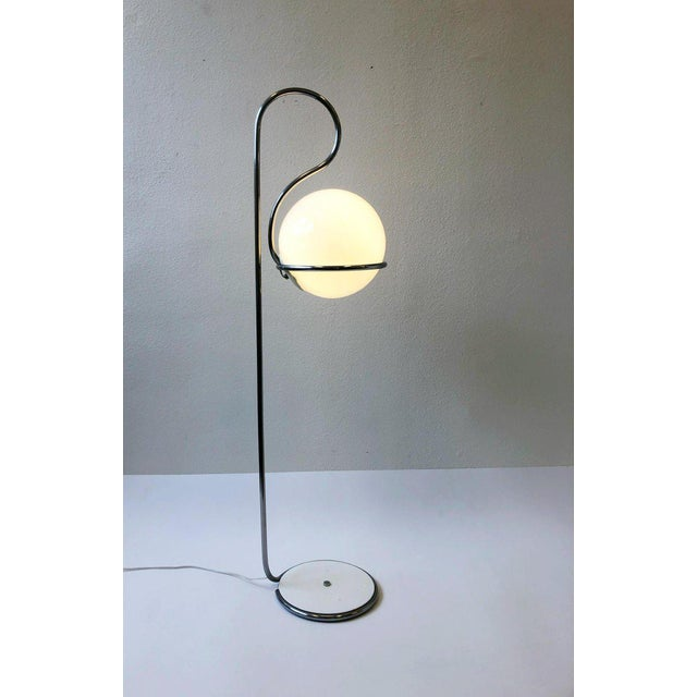 Chrome 1970s Chrome and White Glass Globe Floor Lamp For Sale - Image 7 of 8