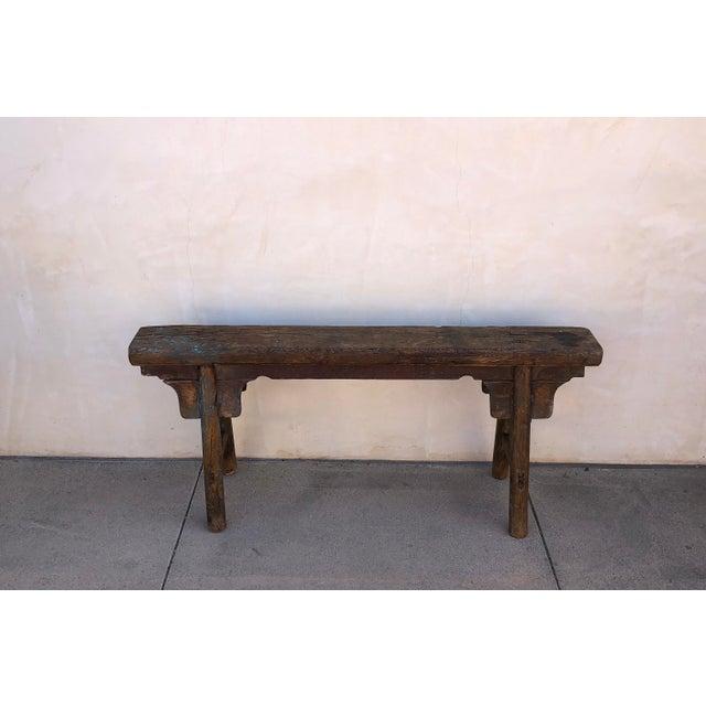 Antique Shandong Elm Wood Bench For Sale - Image 4 of 6
