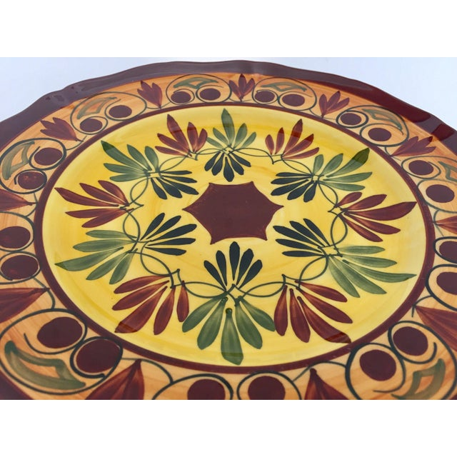 Red French Polychrome Hand Painted Ceramic Decorative Plate For Sale - Image 8 of 12