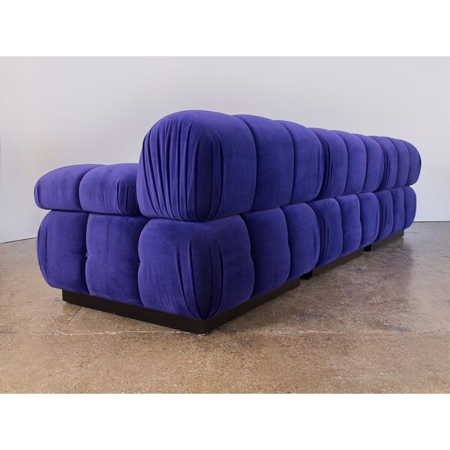 Not Yet Made - Made To Order Open Air Modern Purple Blue Velvet Custom Modular Tufted Loveseat With Ottoman For Sale - Image 5 of 13