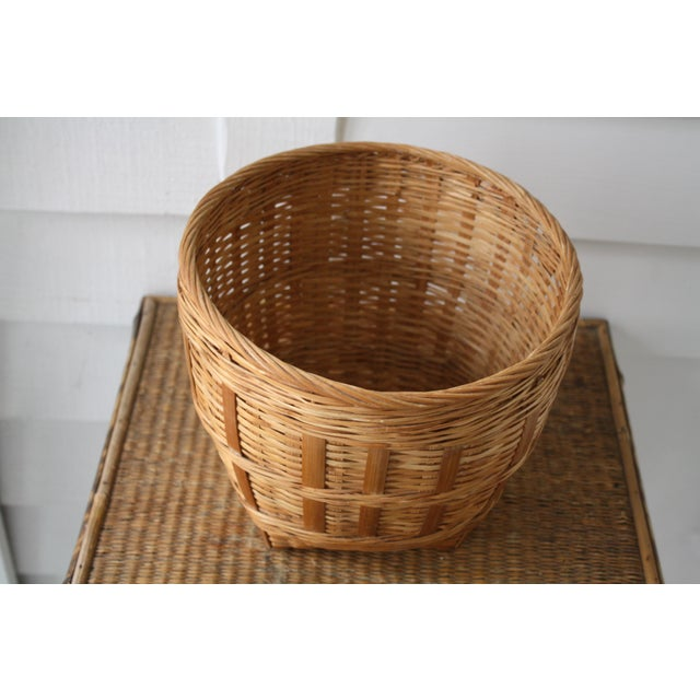 Tan Vintage Woven Wicker Basket For Sale - Image 8 of 10