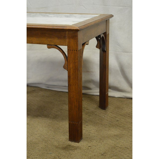 Brown Chippendale Style Custom Walnut Marble Top Side Table For Sale - Image 8 of 11