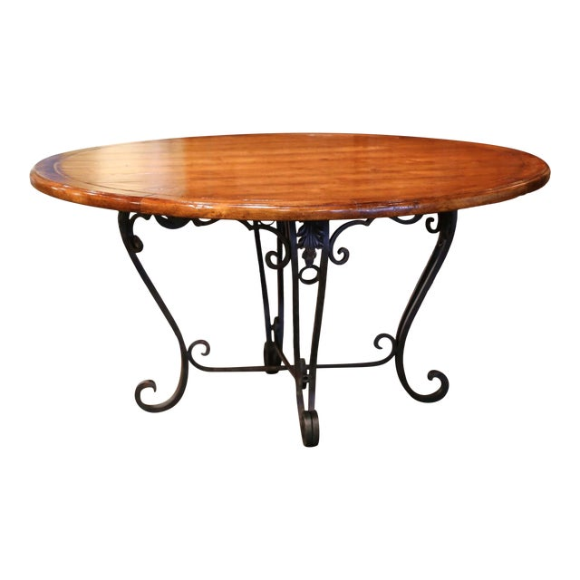 Vintage Walnut Round Dining Room Table on Four-Leg Wrought Iron Base For Sale